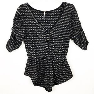Free People Large Ruched Henley Peplum Blouse